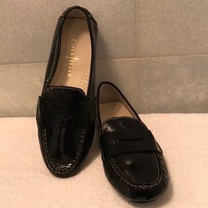 Cole Haan Leather Black Patent Driving Mocs 5.5 M